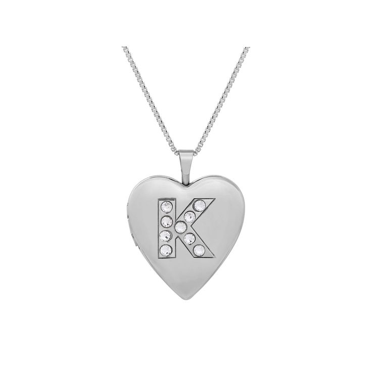 "Sterling Silver Crystal Monogram Heart Locket Necklace, Women's, Size: 18"", Grey"