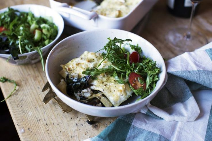 Vit lasagne med portabello, ricotta och spenat