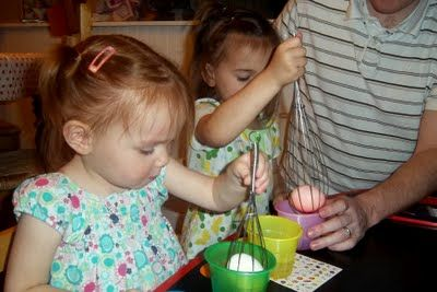 when dying Easter eggs, put the eggs inside wire whisks for little ones. So much easier than balancing it on a spoon.