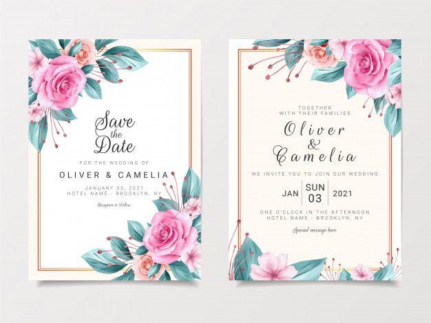 Vintage Wedding Invitation Card Template Set With Watercolor Floral Design Vintage Wedding Invitations Vintage Wedding Invitation Cards Wedding Invitation Card Template