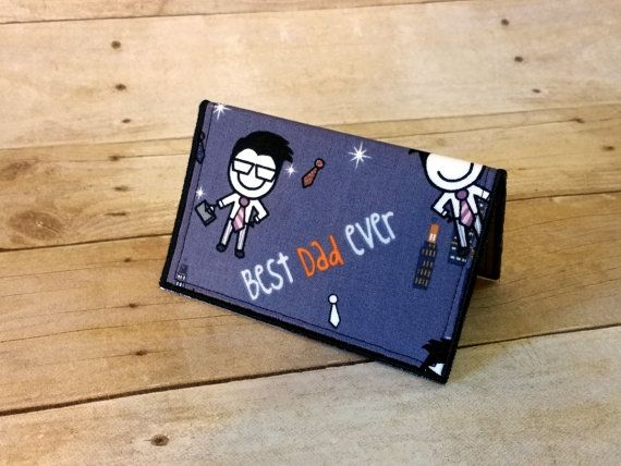 Best Dad Ever Card Holder ~ Mens Business Card Holder ~ ID case ~ Mens Slim Wallet ~ Gift Card Holder for Dad, New Dad Gift ~ Mens Card Case