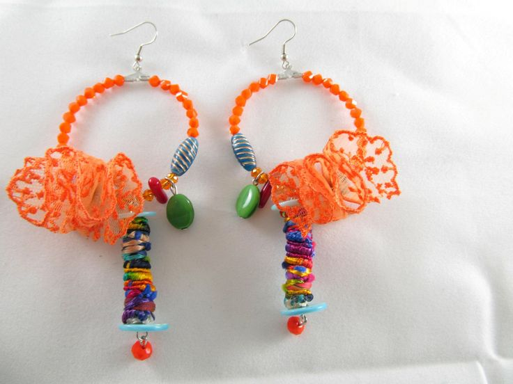 Handmade lace earrings (1 pair)  Made with handmade silk fiber beads, lace, glass beads, semiprecious stones and antiallergic hangings.