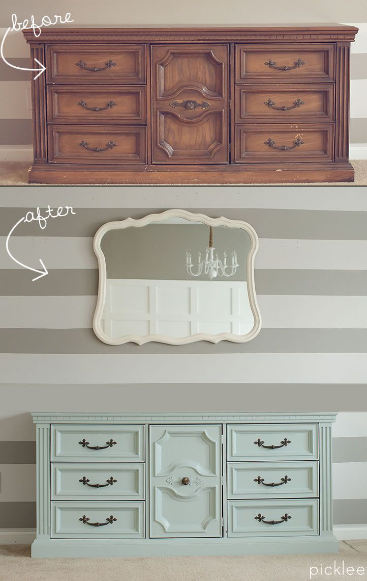 Painted furniture ideas before and after - Amazing Before After Mint Painted Buffet