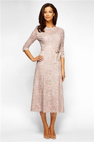 A-Line/Princess Scalloped Tea-length Lace Mother of the Bride Dress