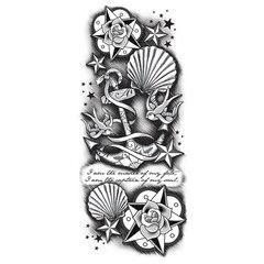 Customizable Tattoo Sleeve-Seashells & Anchor