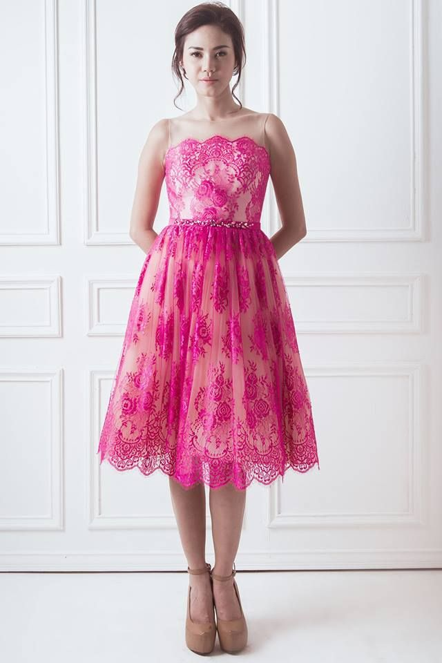 Rose Dress    This universally flattering style is cinched at the waist. The pretty fuchsia pink hue ensures that you stand out at this wedding season and beyond. Order now to get your order by Chinese New Year.