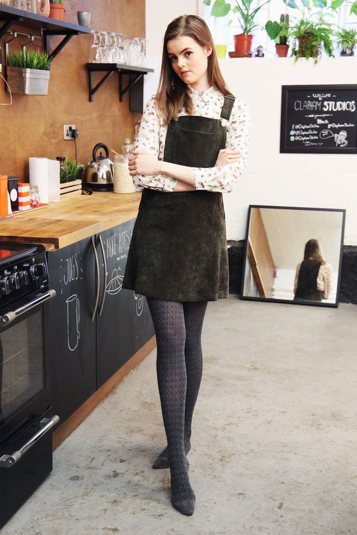 Ella olive corduroy pinafore with brass toned buckles