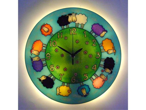 Light-up Clock, Sheep Clock, Lambs Wall Clock, Kids Wall Clock, Large Wall Clock, Unique Wall Clock, Happy Clock, Silent Clock, Sheep Decor
