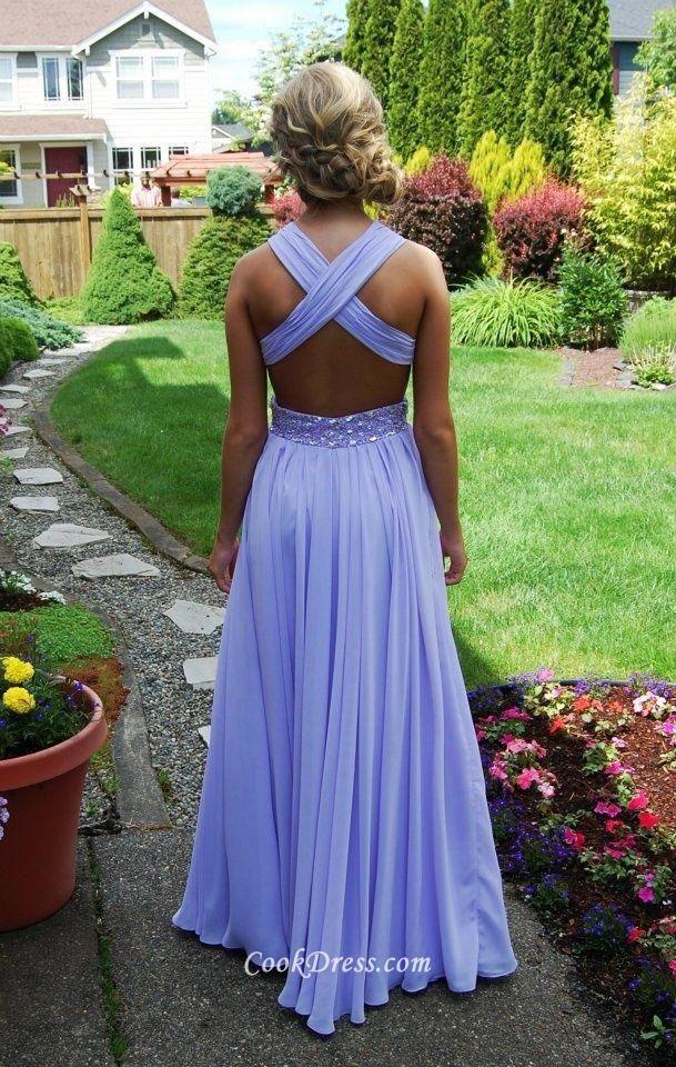 Cross Back Beaded Lavender Sleeveless Shoulder Straps Long Chiffon Ball Dress