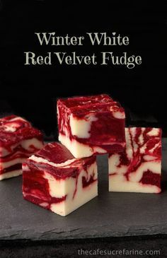 Winter White Red Velvet Fudge - A delicious, beautiful fudge for any season; not just winter! Try it for your next party; or fun gifts to give relatives.