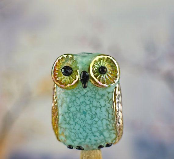 nena lampwork owl bead sra lampwork