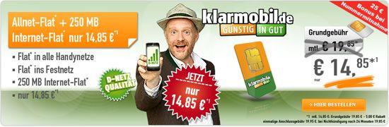 Klarmobil Allnet Spar-Flat 14,85 günstig mit Telekom Klarmobil Allnet-Spar-Flat 14.85 Aktion Vertrag von Klarmobil!