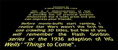 Star Wars 3D scrolling title text ... using only HTML5 and CSS3.