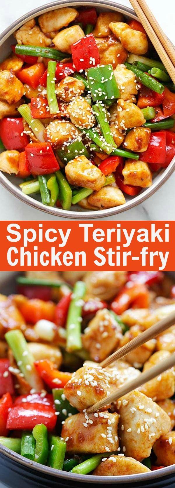 Spicy Teriyaki Chicken Stir Fry – easy and authentic Asian chicken stir fry with Annie Chun's Teriyaki Sauce and Korean Gochujang. So delicious | rasamalaysia.com