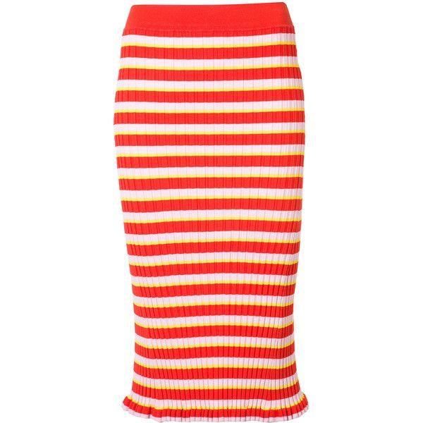 Altuzarra Striped Pencil Skirt ($695) ❤ liked on Polyvore featuring skirts, red, striped skirts, stripe skirt, altuzarra, knee length pencil skirt and red stripe skirt