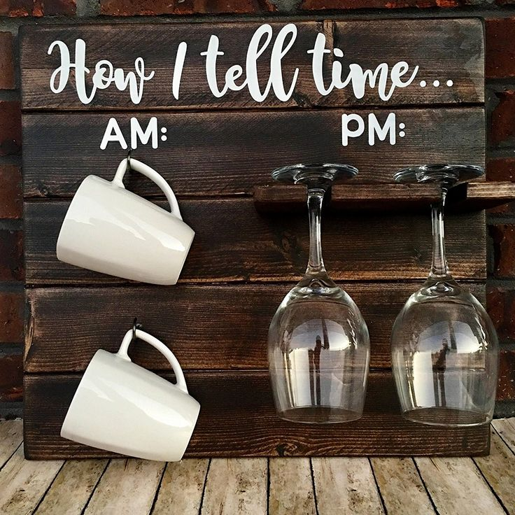 How To Tell Time, How To Tell Time Hanging Coffee/Wine Rack, Rustic Coffee Wine Rack, AM/PM Sign, Funny Kitchen Decor, Housewarming Gift, Funny Wine Gift, Wine Coffee Cup Holder