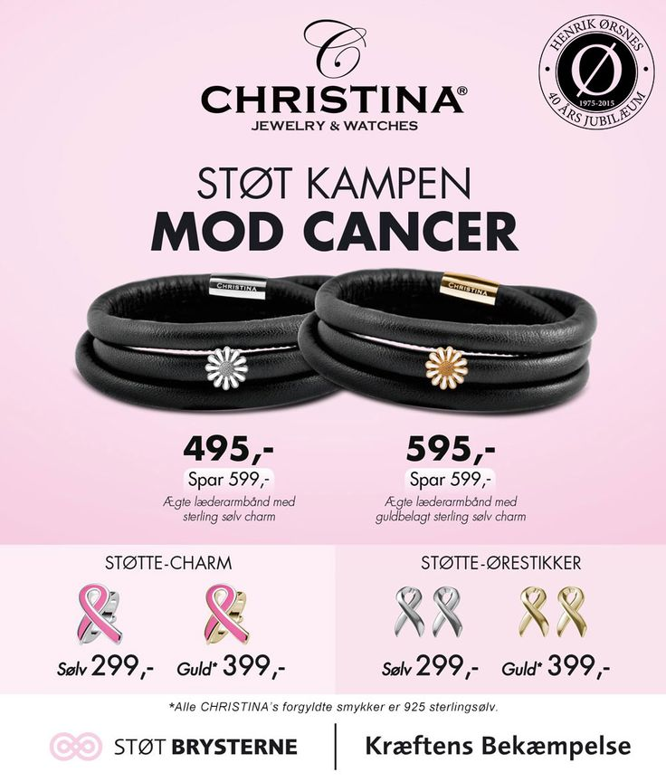 Støt en god sag! Ved at købe disse smukke smykker fra Christina Jewelry & Watches støtter du Støt Brysterne med 50 kr.