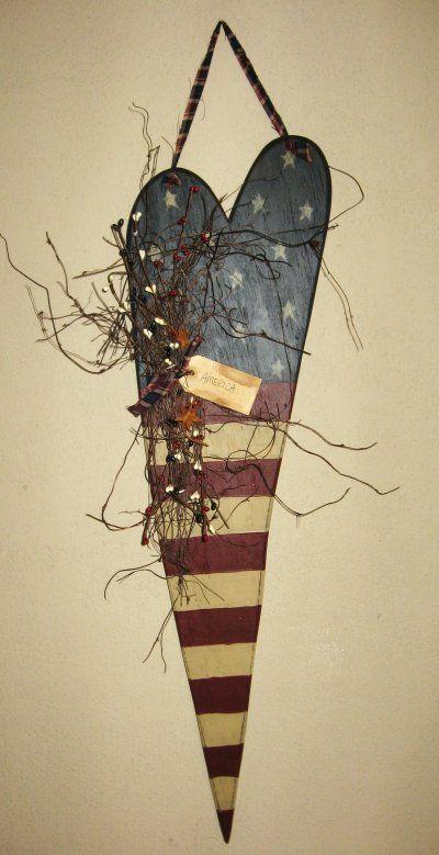 Primitive Americana Heart, Patriotic & 4th of July Crafts