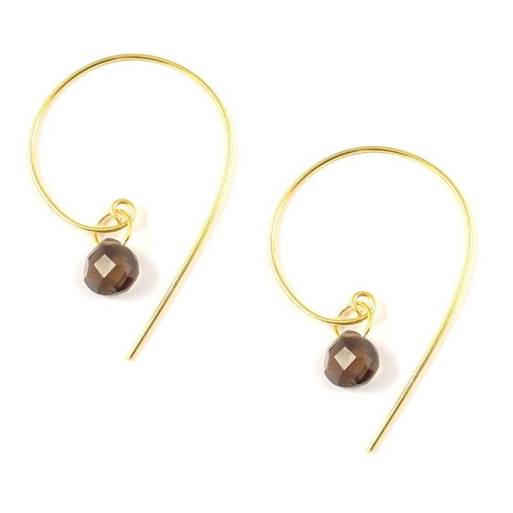 Pomegranate Smokey Quartz Spiral Earrings at aquaruby.com