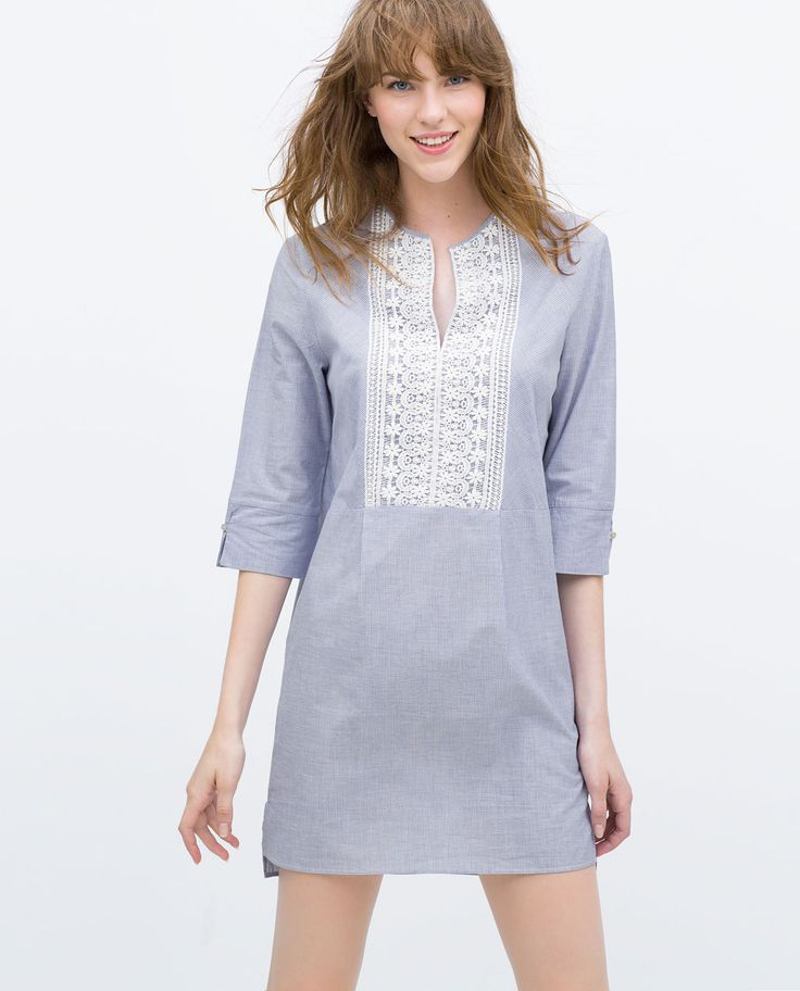Image 2 of TUNIC WITH GUIPURE LACE BIB FRONT from Zara