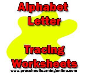 Alphabet Letter Tracing Worksheets - http://www.preschoollearningonline.com/worksheets/alphabet-letter-tracing-worksheets.html