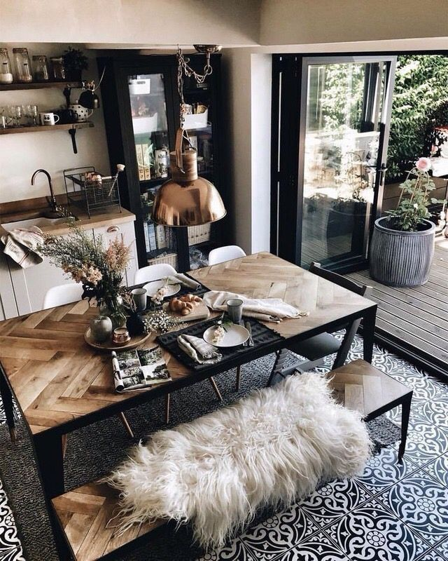 Inspiration of a living room with industrial dining table with metal legs