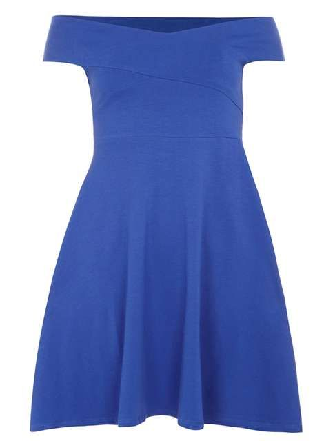 Blue bardot dress - Evening & Partywear - Clothing - Dorothy Perkins