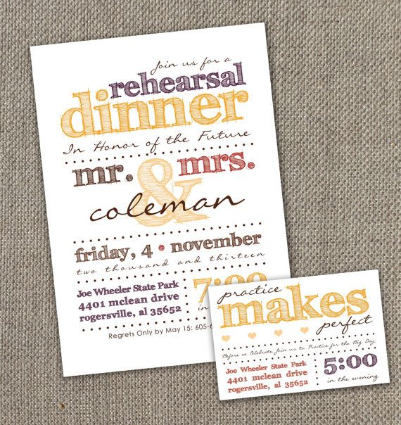 Fall Rehearsal Dinner Invitation with Practice Makes Perfect Details Card. Autumn Wedding. DIY