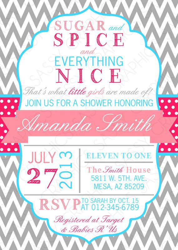 7 best pink baby shower images on pinterest shower invitation girls baby shower invitation chevron polka dots pink turquoise sugar and spice printable digital filmwisefo