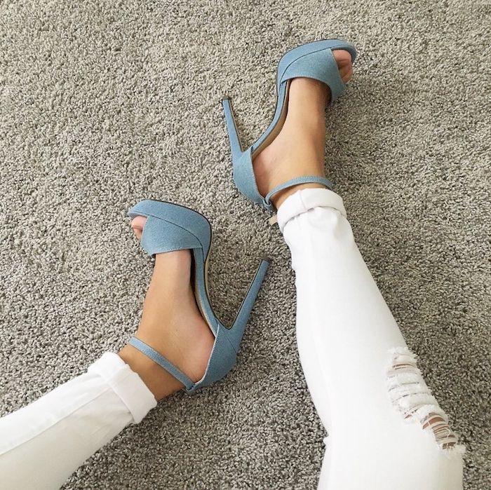 Denim shoes... so cool.  Corah Webber • YouGotShoes #denim #highheels #shoesofpinterest #fashiontrends