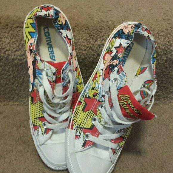 Wonder woman converse shoes only worn once Awesome converse shoes decorated with comic hero wonder woman. Converse Shoes Sneakers