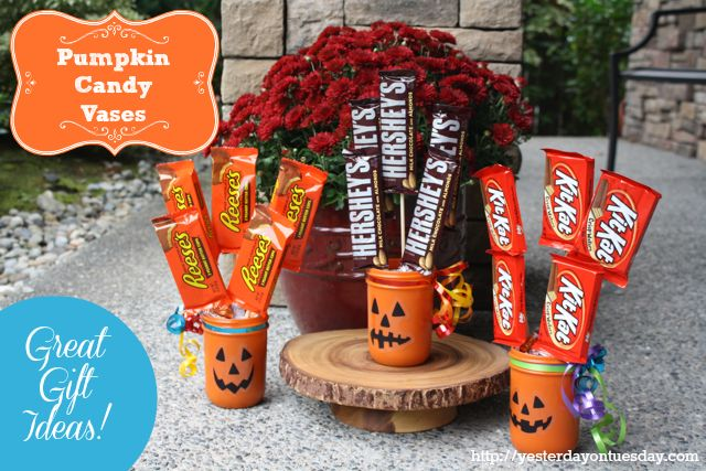 Pumpkin Candy Vases #halloweencrafts #masonjarcrafts #spraypaintcrafts #halloweengifts #yesterdayontuesday