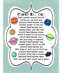 8 Planets poem! A great way for kids to learn the order of the planets in our solar system!