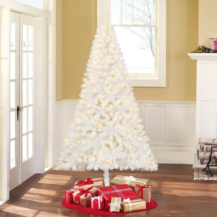 White Artificial Christmas Tree Pre-Lit 6.5 Ft Xmas Pine Trees Holidays Decor  #WhiteArtificialChristmasTree
