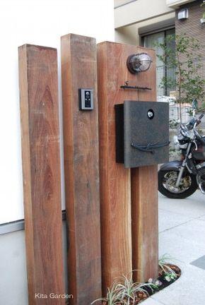 シンプルナチュラルな枕木の門柱(大阪府箕面市)2