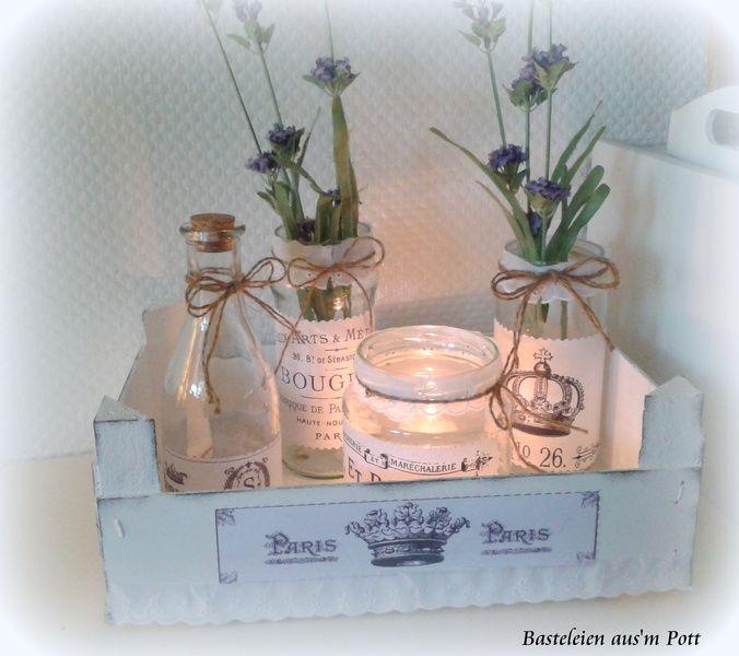 """Shabby Deko Set """"France"""" Vintage 5 teilig von Basteleien aus'm Pott auf DaWanda.com http://de.dawanda.com/product/66884307-Shabby-Deko-Set-France-Vintage-5-teilig"""