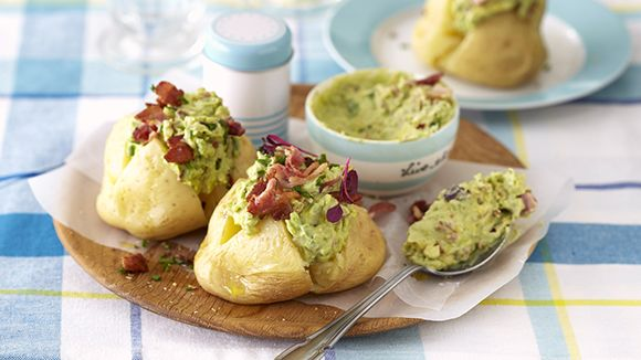Baked Potatoes with an Avo and Bacon Topping