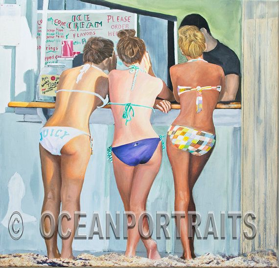Beach Scene Attitude30X30,teenagers,body language,sensual,acrylic,oil painting,romantic,sexy,sunny,beach decor,fine art,bikini,Jim Gordon