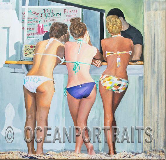 Beach Scene Attitude30X30,teenagers,body language,sensual,acrylic,oil painting,romantic,sexy,sunny,beach decor,fine art,bikini,Jim Gordon