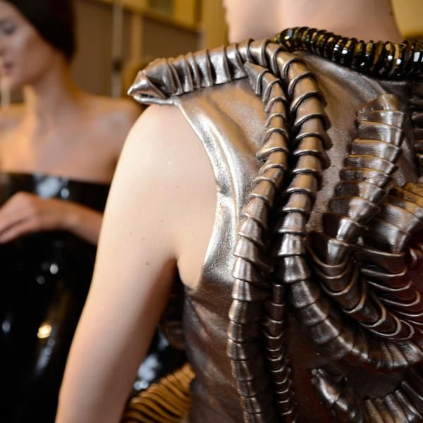 Metallic leather dress with 3D segmented construction - sculpted fabric; surface manipulation; wearable art // Iris van Herpen