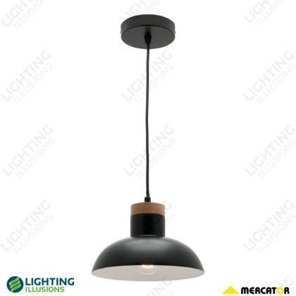 Black Buddy Metal & Timber Shade Small Pendant Light - Shop