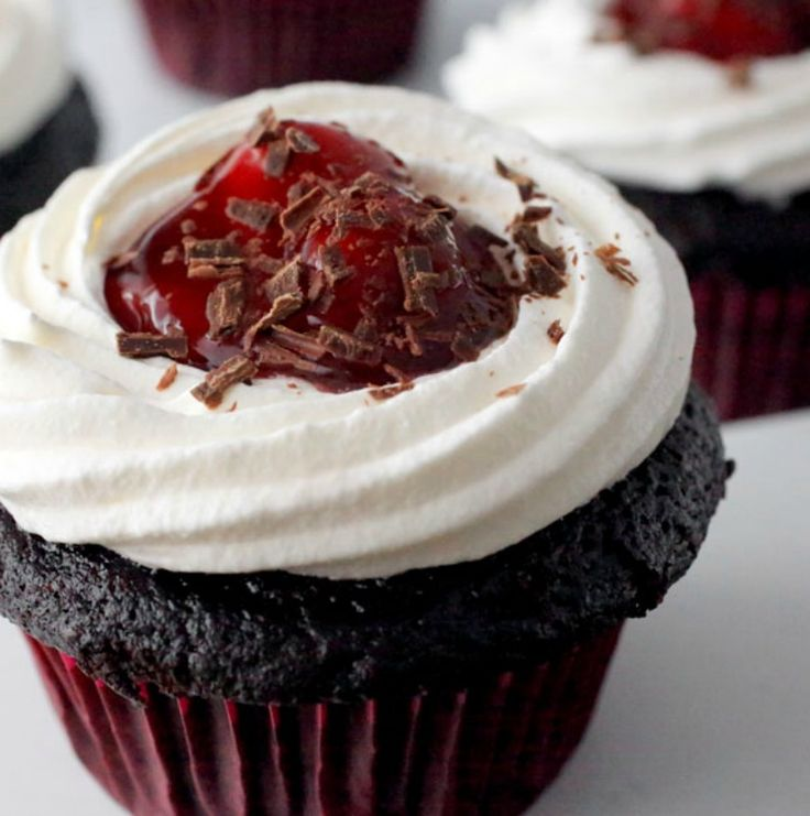 Our black forest cupcakes are light and fluffy, with the flavor of a dense chocolate cake. They're perfect for celebrating a special occasion…or just because! - Everyday Dishes & DIY