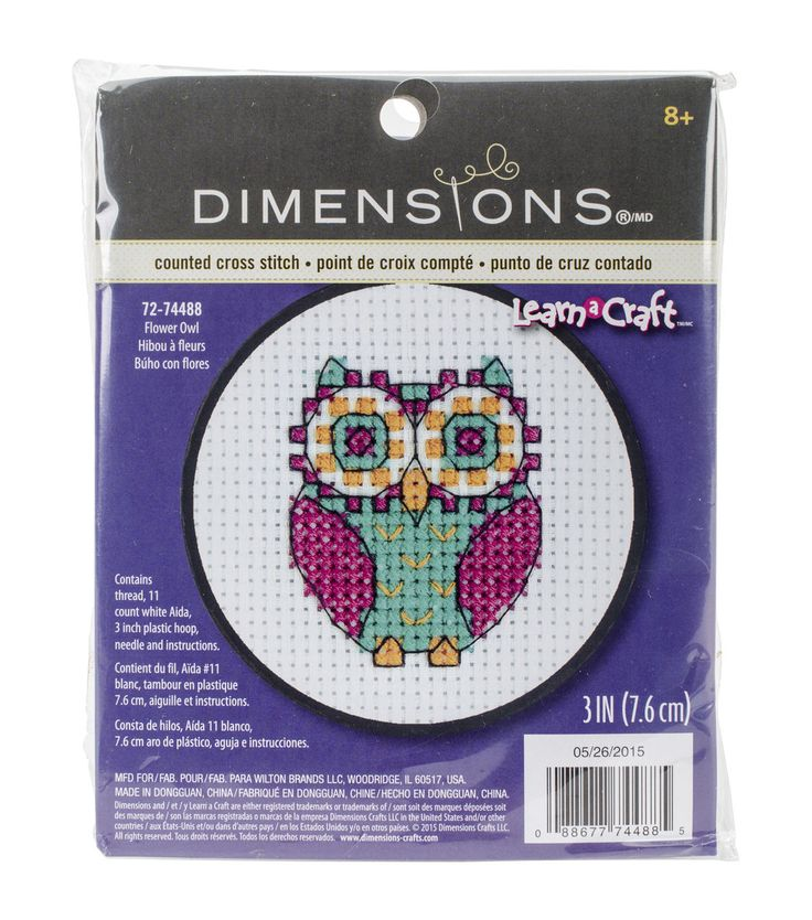 Dimensions® Learn-A-Craft Counted Cross Stitch Kit-Flower Owl