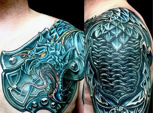 Dragon Celtic Shoulder Armor Tattoo For Men