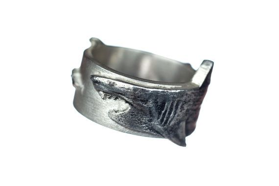 Shark Ring Silver Great White Shark Ring by rockmyworldinc on Etsy, $174.99