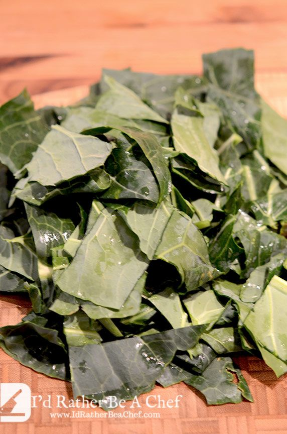 We want a rustic feel to these southern collard greens, so keep the collards cut into about 1 inch by 3 inch strips.