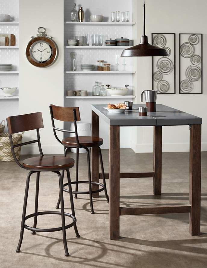 """Langdon 24 1/4"""" Wood and Bronze Swivel Counter Stool - #4V958 