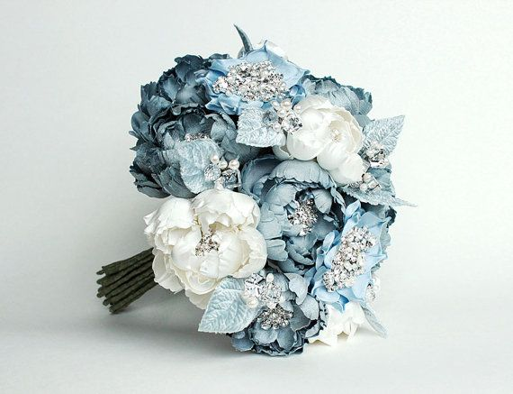 Something Blue Couture Bridal Bouquet by EmiciLivet on Etsy