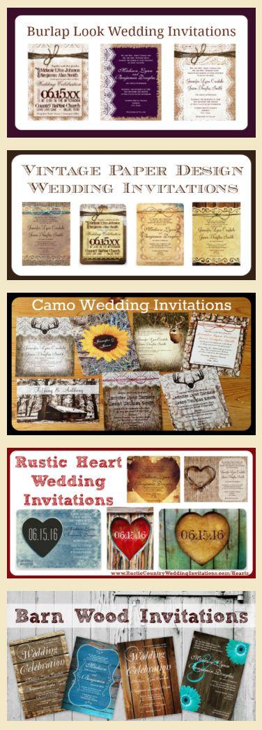 Rustic Wedding Invitations and Country Wedding Invitations including burlap prints, vintage paper look, camo wedding invitations, rustic hearts, and barn wood background. http://www.rusticcountryweddinginvitations.com