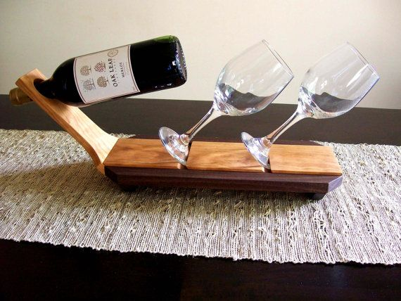 Wine Glass and Bottle Caddy / Holder / Rack / Display